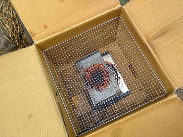 焼き網が段ボールにすっぽり収まりました