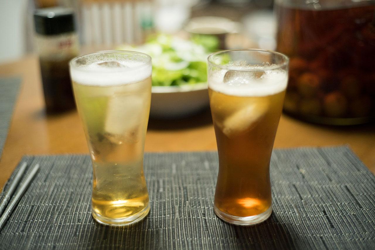 梅酒のソーダ割り完成