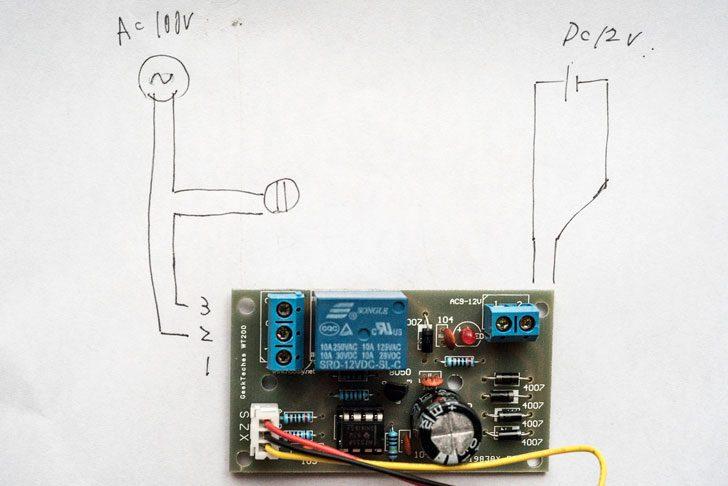 水位センサーの簡易配線図