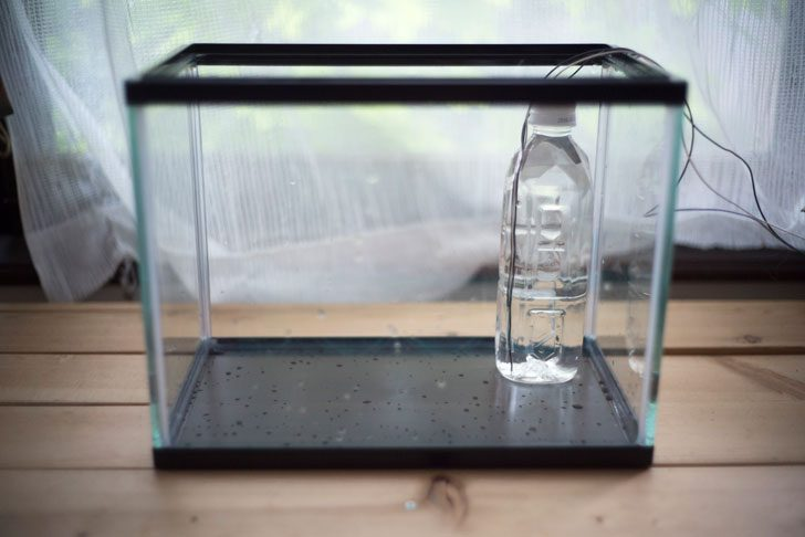 水槽と水位を調べる電極