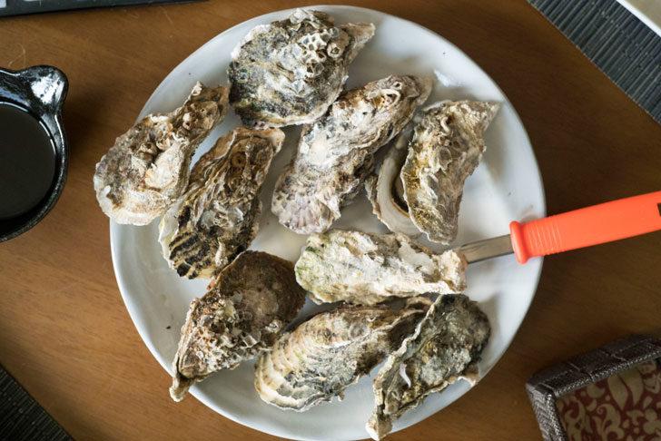 牡蠣が並んだ写真
